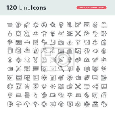Proste IconsSet składki ikon wektorowych cienka linia do projektowania graficznego, projektowanie stron internetowych i rozwój, rozwój aplikacji, SEO.
