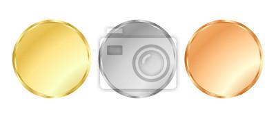 Naklejka Proste wektora szablonu złoto, srebro, brąz dla znaczków i monet