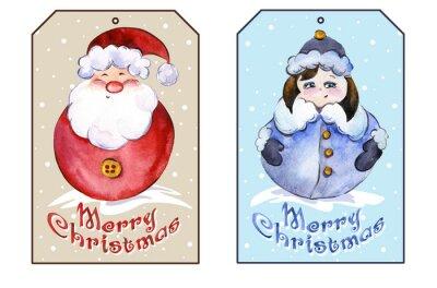 Prostokątne tagi Boże Narodzenie z Santa Claus i uśmiechnięte zabawne Snow Maiden. akwarela. Malowane ręcznie.