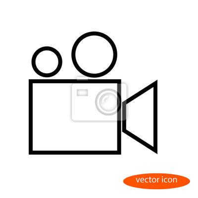 Prosty stylizowany liniowy obraz wektorowy projektora filmowego lub kamery filmowej, płaska ikona linii