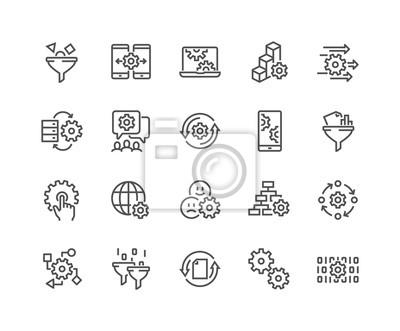 Naklejka Prosty zestaw przetwarzania danych związanych z ikonami linii wektorowej. Zawiera takie ikony jak filtr, wyposażenie, schemat i inne. Edytowalny obrys. 48x48 Pixel Perfect.