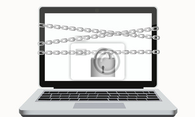 Protection of digital data. Laptop with chain and padlock