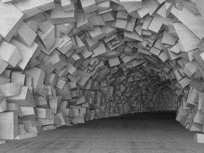 Naklejka Przechodząc konkretne wnętrze tunelu, 3d