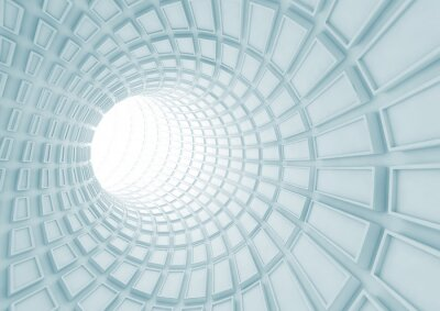 Naklejka Przechodząc niebieskim tunelu wnętrze z wytłaczanych płytek