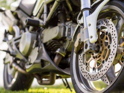 Naklejka Przednie szczegóły kierownicą motocykla