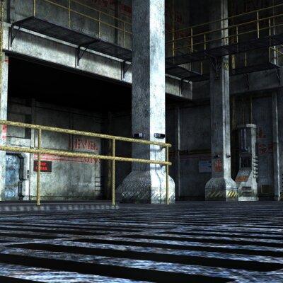 Naklejka przemysłowy pokój Działu technicznego z żelaznych drzwi, kolumn i elementów metalowych