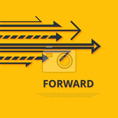 Naklejka Przenieś koncepcję przodu. Strzałki i podpisać. prosta konstrukcja