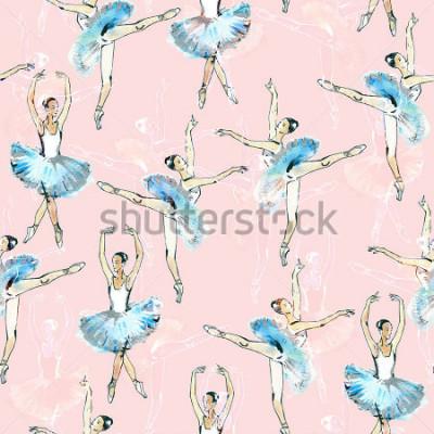 Naklejka Przenoszony wzór baletniczy tancerze, czarny, biel i srebrny rysunek, akwarela obraz, dostęp do różowego tła.