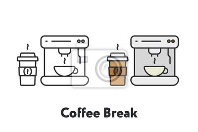 Przerwa na kawę maszyna kubek papierowy kolor minimalna linia płaskich kontur ikona obrysu