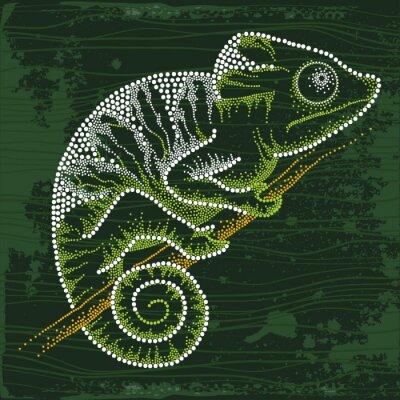 Naklejka Przerywana Chameleon siedzi na gałęzi