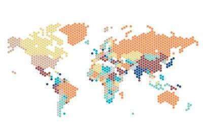 Naklejka Przerywana Mapa świata sześciokątnych kropek