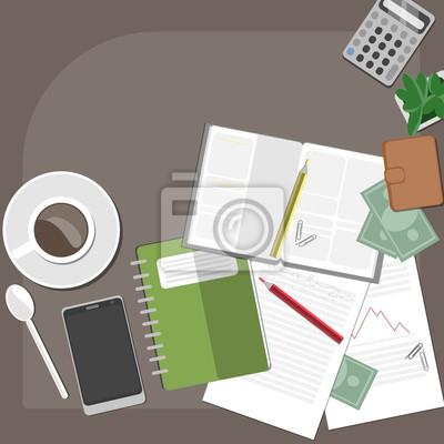 przestrzeń z kawy, pieniądze i notatki robocze.