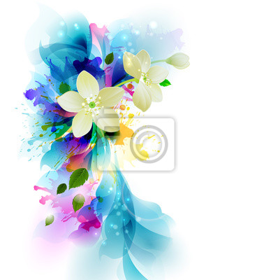 Przetarg abstrakcyjne tło z białymi kwiatami na bąble artystycznych