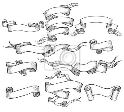 Naklejka Przewiń szkic. Vintage ręcznie rysowane baner i naszkicowanych wirować wstążki wektorowych ilustracji