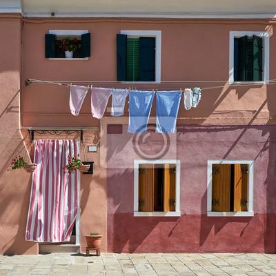 Przód domu na wyspie Burano. Wenecja, Włochy. Podróżować