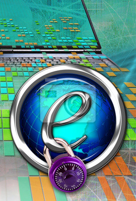 Przycisk blokady na komputer.