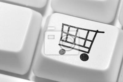 Przycisk do zakupów na klawiaturze. sklep internetowy .