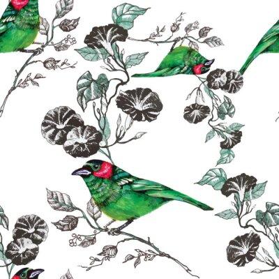 ptak, tropikalnych, palma, akwarela, ananas, wzór, tapety, tukan