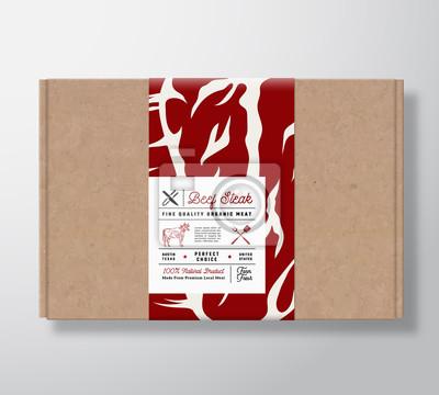 Naklejka Pudełko kartonowe ze stekiem wołowym wysokiej jakości. Abstrakcjonistyczny Wektorowy Mięsnego papieru zbiornik z etykietki pokrywą. Projektowanie opakowań. Nowoczesna typografia i ręcznie rysowane kro