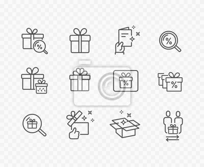 Pudełko, obecny, zestaw ikon linii zniżki na białym tle na przezroczystym tle. Symbole obrysu obrysu wektor na Boże Narodzenie, nowy rok projekt niespodzianka