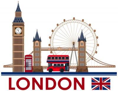 Naklejka Punkt zwrotny w Londynie na białym tle