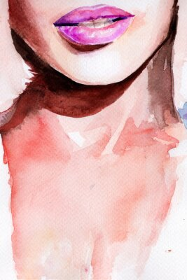 Naklejka purple lipstick. lips watercolor