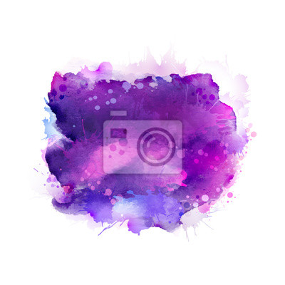 Purpurowy, fioletowy, liliowy i niebieskie plamy akwarela. Jasny element abstrakt artystyczny.