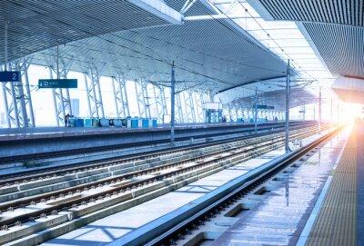 Naklejka puste kolejowe platformy tła