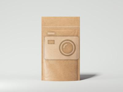 Naklejka Puste opakowanie recyklingowi Torba papierowa. 3d renderowania