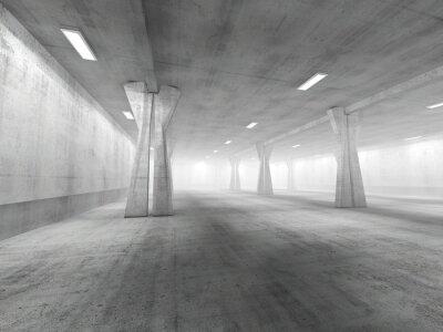 Naklejka Puste podziemny parking renderowania 3D
