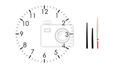 Naklejka Puste tarczy zegara makiety z godzin, minut i sekund ręce, na białym tle. Ilustracji wektorowych