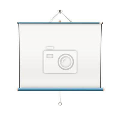 Pusty biały ekran projektor wisi od ściany. isolated vector.