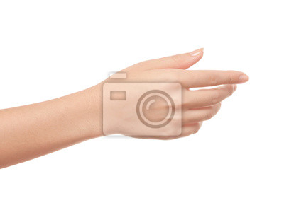 Naklejka Pusty otwarta ręka kobieta na białym tle