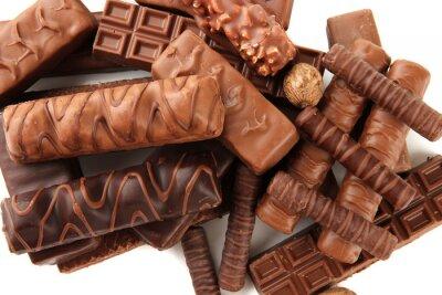 Naklejka Pyszne czekolady z orzechami bliska