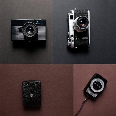 quar Kompozycja z ZSRR Vintage kamery filmowe i miernik ekspozycji na tle ciemnych kolorów koncepcji stylu retro moda widok z góry mieszkanie płaskie Lay