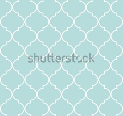 Naklejka Quatrefoil geometryczny bezszwowy wzór, tło, wektorowa ilustracja w miętowym błękicie, miękki turkusowy kolor i biel.