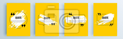 Naklejka Quote frames blank templates set. Text in brackets, citation empty speech bubbles, quote bubbles. Textbox isolated on color background. Vector illustration.