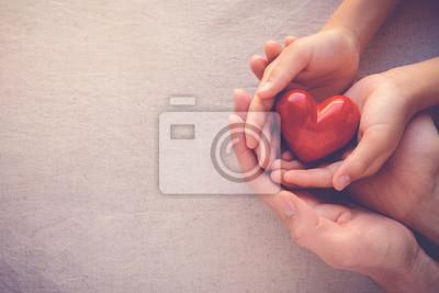 Naklejka R? Ce doros? Ego i dziecka sta? Ego czerwonego serca, opieki zdrowotnej mi? O? Ci i koncepcji rodziny