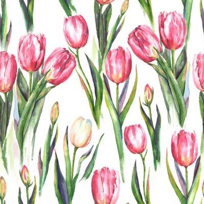 Naklejka R? Cznie rysowane akwarela bez szwu deseń z różowe i białe kwiaty tulipanów. Powtarzane wiosenne nadruki na tekstyliach, tapetach. Tender i piękne tło