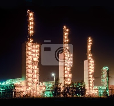 Rafinerii Grangemouth w nocy