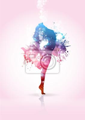 Naklejka Ragazza che Balla con schizzi di colore