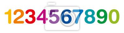 Naklejka Rainbow kolorowe numery w jednym rzędzie. Dziesięć liczby od jeden do zera. Izolowane ilustracji na białym tle. Wektor.