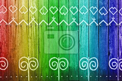 Rainbow kolorowe ściany z białym wzorem drewna