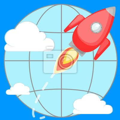 Rakieta latające wokół planety w chmurach.