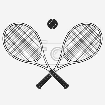 Naklejka Rakieta tenisowa i piłka, wektor