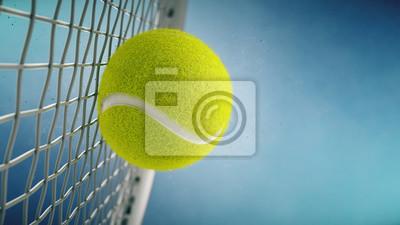 Naklejka Rakieta tenisowa uderza piłkę tenisową. Zbliżenie na błękitnym tła 3d renderingu