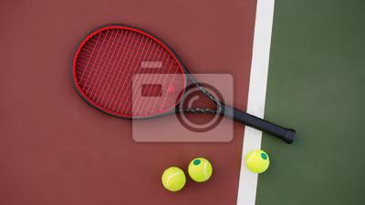 Naklejka Rakieta tenisowa z kulkami na zielonym i czerwonym tle