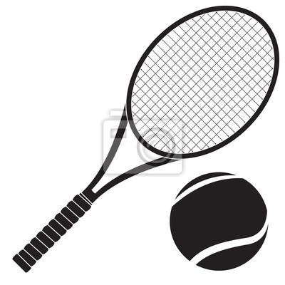 Naklejka Rakieta tenisowa z piłką