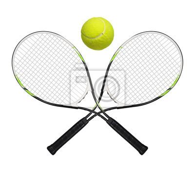 Naklejka rakiety tenisowe i piłka na białym tle