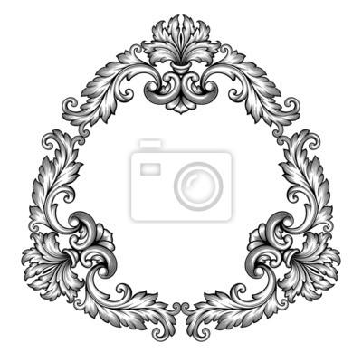 Rama wektor wzór barokowy wzór przewijania